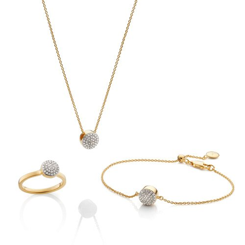 Fiji Button Ring, Necklace and Bracelet Diamond Set - Monica Vinader
