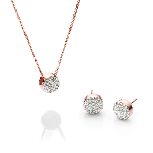 Fiji Button Earring and Necklace Diamond Set - Monica Vinader