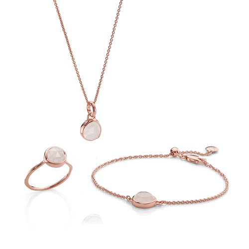 Siren Ring, Bracelet and Necklace Set - Rose Quartz - Monica Vinader