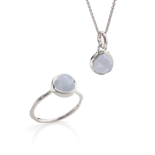 Siren Ring and Necklace Set - Blue Lace Agate - Monica Vinader