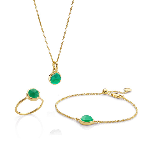 Siren Ring, Bracelet and Necklace Set - Green Onyx - Monica Vinader