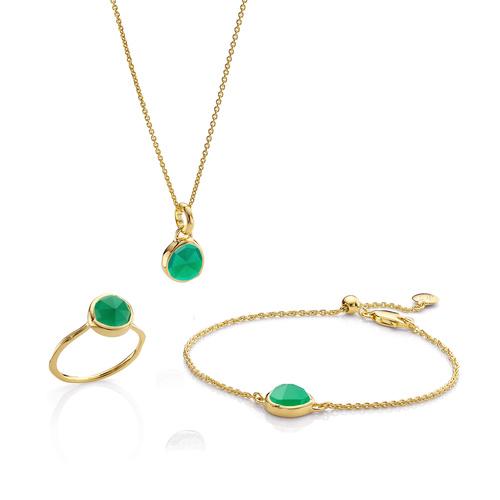 Siren Ring, Bracelet and Necklace Set - Green Onyx - Monica Vinader