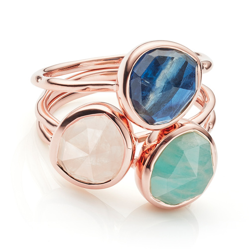 Siren Stacking Ring Set - Amazonite, Kyanite and Rose Quartz - Monica Vinader