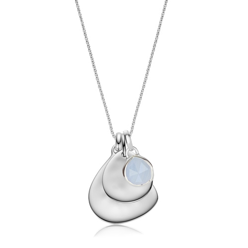Siren Mini Bezel, Small and Large Plain Pendant Charm Necklace Set - Blue Lace Agate - Monica Vinader