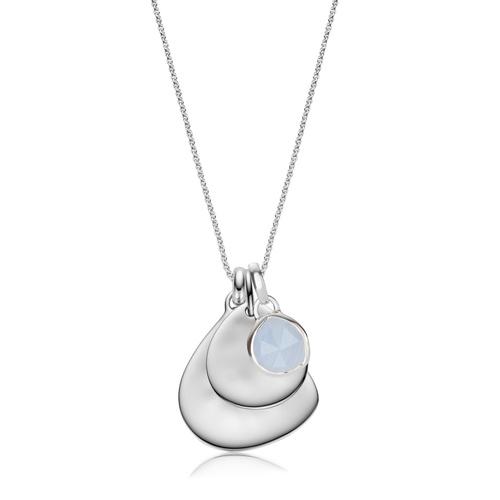 Siren Mini Bezel, Small and Large Plain Pendant Charm Necklace Set - Blue Lace Agate - Monica Vinader