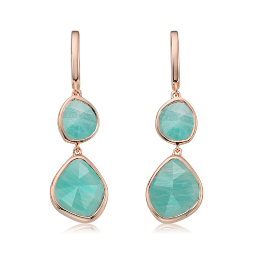 Rose Gold Vermeil Siren Double Nugget Drop Earrings - Amazonite - Monica Vinader