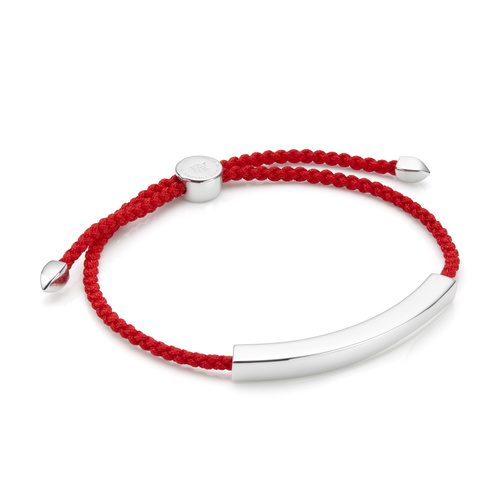 Sterling Silver Linear Large Men's Friendship Bracelet - Coral - Monica Vinader