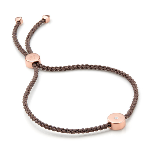 Rose Gold Vermeil Linear Solo Friendship Diamond Bracelet - Diamond - Monica Vinader