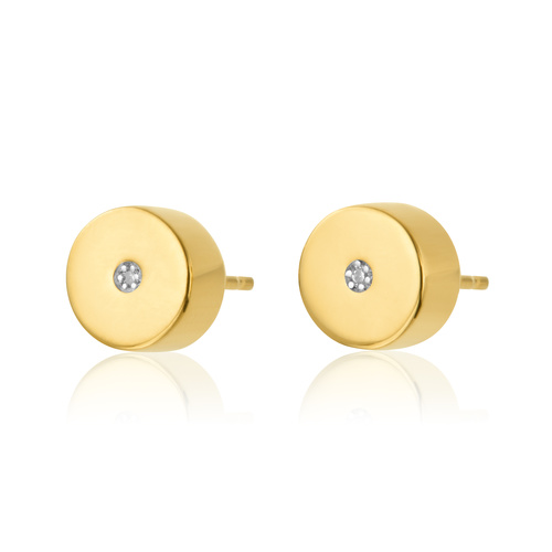 Gold Vermeil Linear Solo Stud Diamond Earrings - Diamond - Monica Vinader