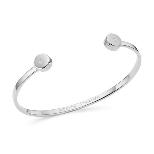 Sterling Silver Linear Solo Diamond Cuff - Diamond - Monica Vinader