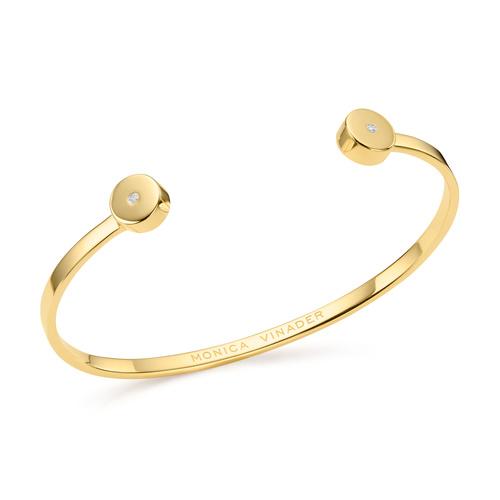 Gold Vermeil Linear Solo Diamond Cuff - Diamond - Monica Vinader