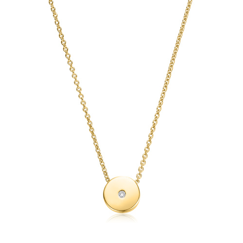 Gold Vermeil Linear Solo Diamond Necklace - Diamond - Monica Vinader