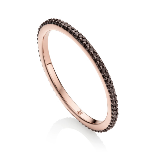 Rose Gold Vermeil Skinny Eternity Ring - Black Diamond - Monica Vinader