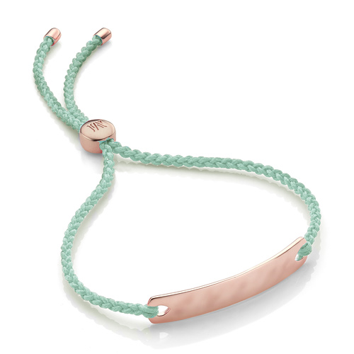 Rose Gold Vermeil Havana Mini Friendship Bracelet - Mint - Monica Vinader