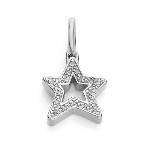 Sterling Silver Alphabet Star Diamond Pendant Charm - Diamond - Monica Vinader
