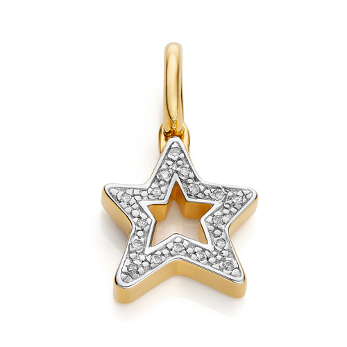 Gold Vermeil Alphabet Star Diamond Pendant Charm - Diamond - Monica Vinader