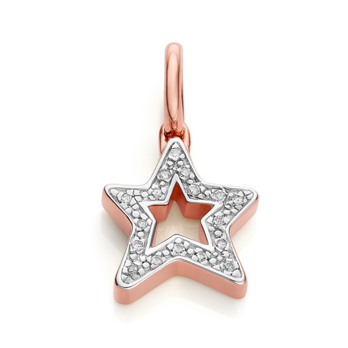 Rose Gold Vermeil Alphabet Star Diamond Pendant Charm - Diamond - Monica Vinader
