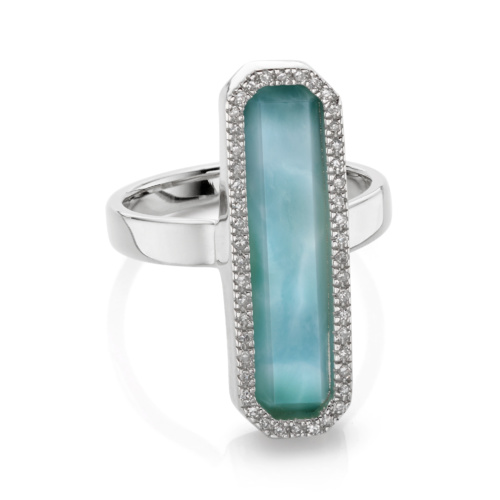 Sterling Silver Naida Rectangle Ring - Larimar - Monica Vinader
