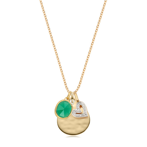 Siren, Ziggy and Alphabet Heart Diamond Pendant Charm Set - Green Onyx - Monica Vinader
