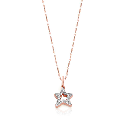 Alphabet Star Diamond Pendant Charm Necklace Set - Monica Vinader