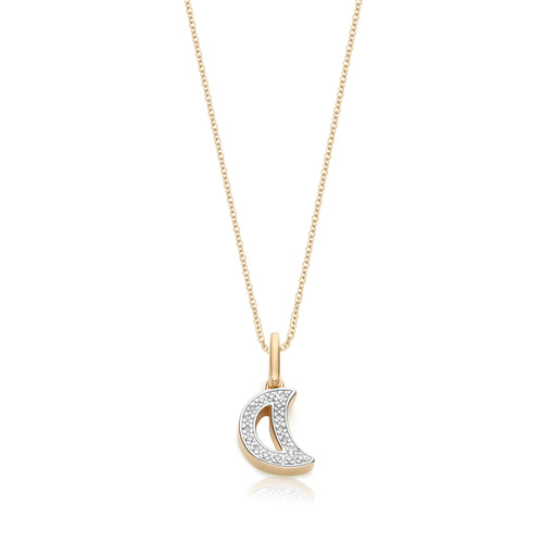 Alphabet Moon Diamond Pendant Charm Necklace Set - Monica Vinader