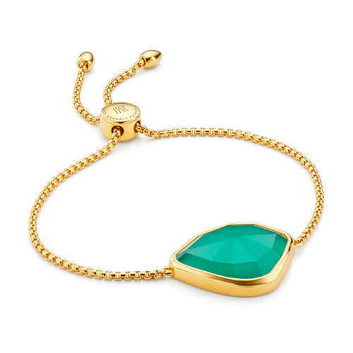 Gold Vermeil Siren Nugget Cocktail Friendship Chain Bracelet - Green Onyx - Monica Vinader