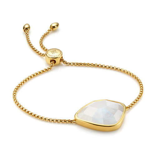 Gold Vermeil Siren Nugget Cocktail Friendship Chain Bracelet - Moonstone - Monica Vinader