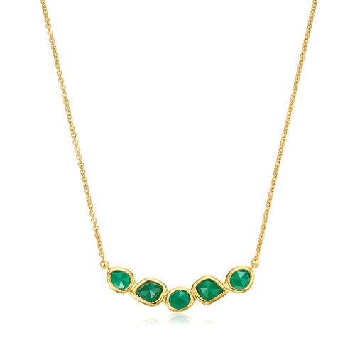 Gold Vermeil Siren Mini Nugget Cluster Necklace - Green Onyx - Monica Vinader