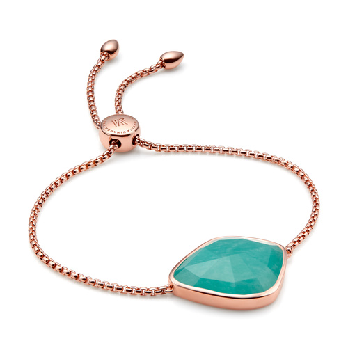 Rose Gold Vermeil Siren Nugget Cocktail Friendship Chain Bracelet - Amazonite - Monica Vinader