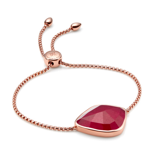 Rose Gold Vermeil Siren Nugget Cocktail Friendship Chain Bracelet - Pink Quartz - Monica Vinader