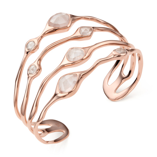 Rose Gold Vermeil Siren Cluster Cocktail Cuff - Rose Quartz - Monica Vinader