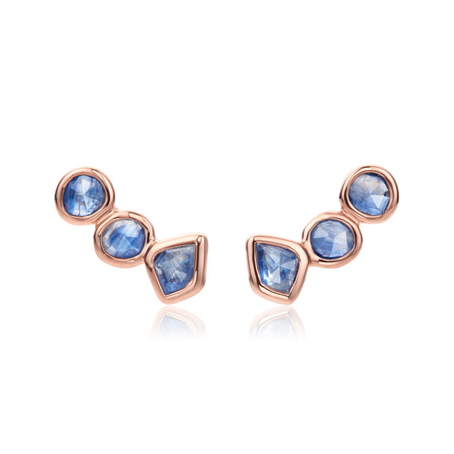 Rose Gold Vermeil Siren Climber Earrings - Kyanite - Monica Vinader