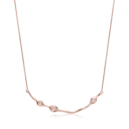Rose Gold Vermeil Siren Cluster Smile Necklace - Rose Quartz - Monica Vinader