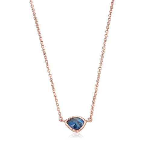 Rose Gold Vermeil Siren Mini Nugget Necklace - Kyanite - Monica Vinader