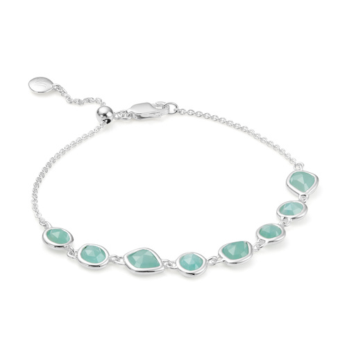Sterling Silver Siren Mini Nugget Cluster Bracelet - Amazonite - Monica Vinader