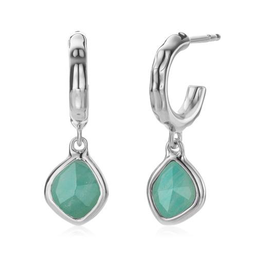 Sterling Silver Siren Mini Nugget Hoop Earrings - Amazonite - Monica Vinader
