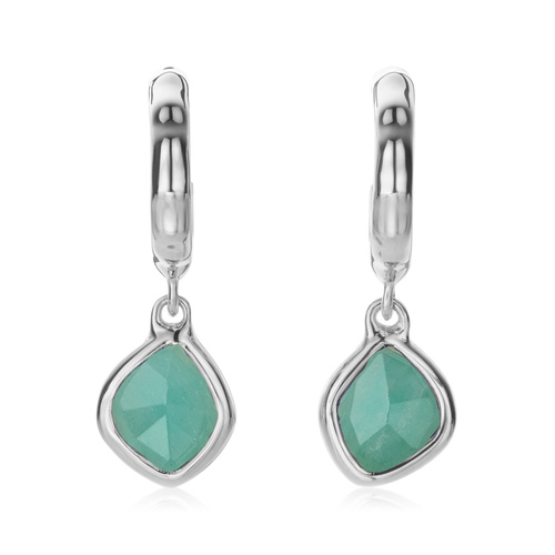 Sterling Silver Siren Mini Nugget Hoop Earrings - Amazonite - Monica Vinader
