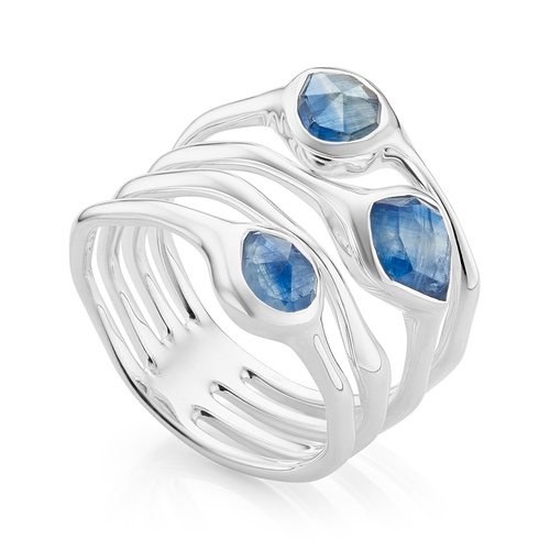 Sterling Silver Siren Cluster Cocktail Ring - Kyanite - Monica Vinader