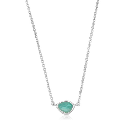 Sterling Silver Siren Mini Nugget Necklace - Amazonite - Monica Vinader