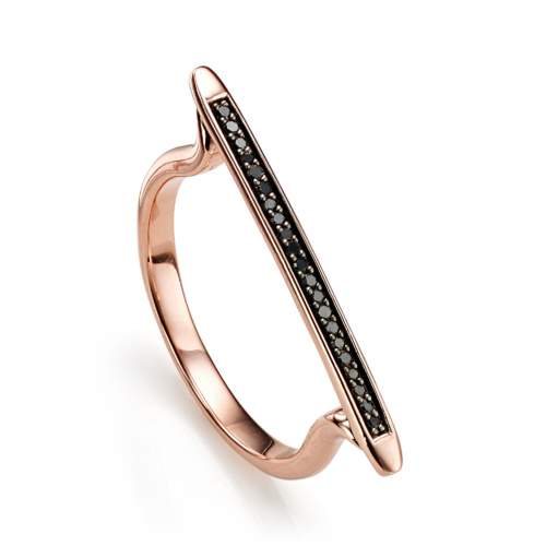 Rose Gold Vermeil Skinny Stacking Ring - Black Diamond - Monica Vinader