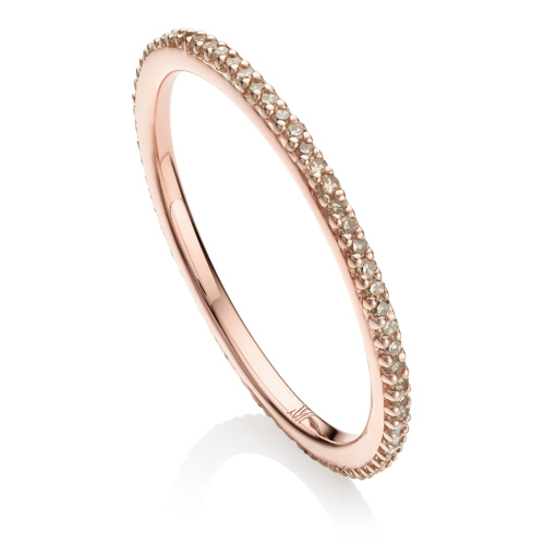 Rose Gold Vermeil Skinny Eternity Ring - Champagne Diamond - Monica Vinader