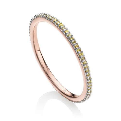 Rose Gold Vermeil Skinny Eternity Ring - Yellow Diamond - Monica Vinader