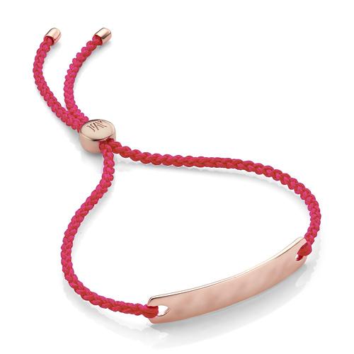 Rose Gold Vermeil Havana Mini Friendship Bracelet - Bright Pink - Monica Vinader