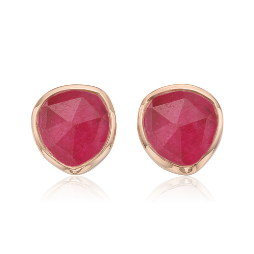 Rose Gold Vermeil Siren Stud Earrings - Pink Quartz - Monica Vinader