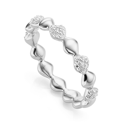 Sterling Silver Nura Teardrop Mixed Eternity Diamond Ring - Diamond - Monica Vinader