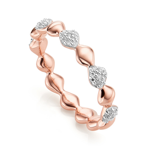 Rose Gold Vermeil Nura Teardrop Mixed Eternity Diamond Ring - Diamond - Monica Vinader