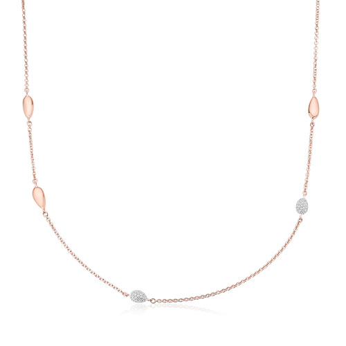 Rose Gold Vermeil Nura Teardrop Mixed Station Diamond Necklace - Diamond - Monica Vinader