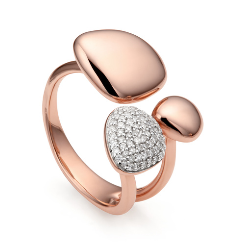 Rose Gold Vermeil Nura Pebble Cluster Diamond Ring - Diamond - Monica Vinader