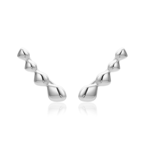 Sterling Silver Nura Teardrop Climber Earrings - Monica Vinader
