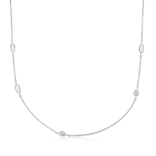 Nura Teardrop Mixed Station Diamond Necklace - Diamond - Monica Vinader